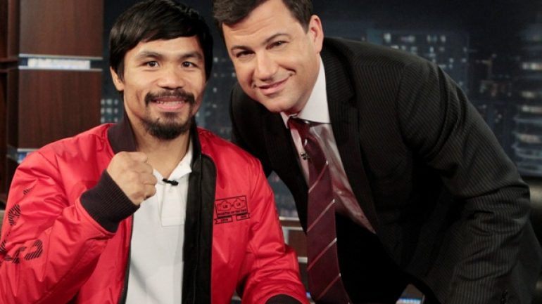 Manny Pacquiao, Bill Clinton to appear April 2 on 'Jimmy Kimmel Live'