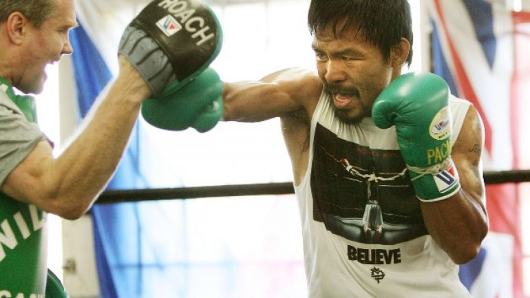 No trash-talk from Roach, but he says Pacquiao can stop Mayweather