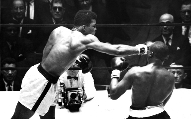 Cassius Clay lands a straight right against fellow heavyweight contender Doug Jones during their 10-round bout at Madison Square Garden on March 13, 1963 in New York, N.Y. Clay, later known to the world as Muhammad Ali, won a hard-fought unanimous decision.