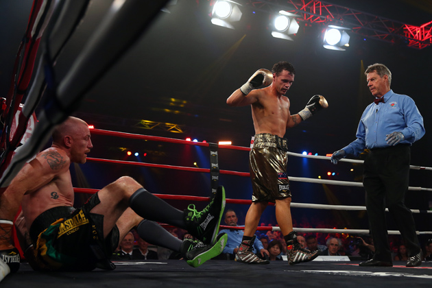Garth Wood is dropped during his fight against Daniel Geale at the Hordern Pavilion on Feb. 19, in Sydney, Australia.