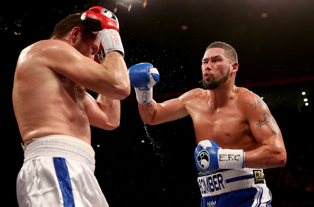Tony Bellew (right) rumbles with Valery Brudov during his successful cruiserweight debut on March 15 in his native Liverpool. Photo by Scott Heavey-Getty Images