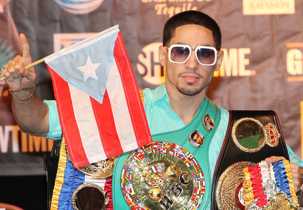 Danny-Garcia-flag-and-belts-casino-showtime