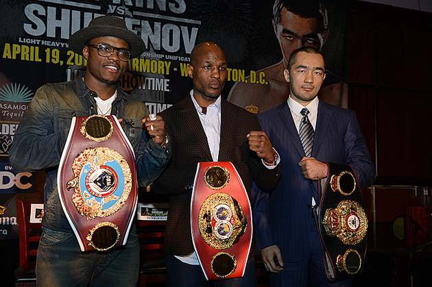 World titleholders Peter Quillin, Bernard Hopkins and Beibut Shumenov show off their hardware at the New York City press conference Showtime's April 19 tripleheader. Photo by Rich Kane-Hoganphotos / Golden Boy Promotions