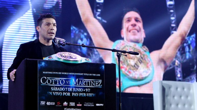 Sergio Martinez: Miguel Cotto 'will be sleeping before the ninth'