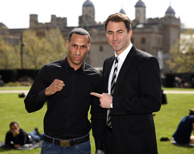 Olympic gold medalist James DeGale (left) poses with his promoter Eddie Hearn. Photo by Jordan Mansfield-Getty Images
