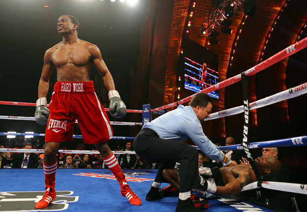 Jesse Hart knocks out Marlon Farr during their bout at Radio City Music Hall on April 13, 2013 in New York City. Photo by Al Bello/Getty Images