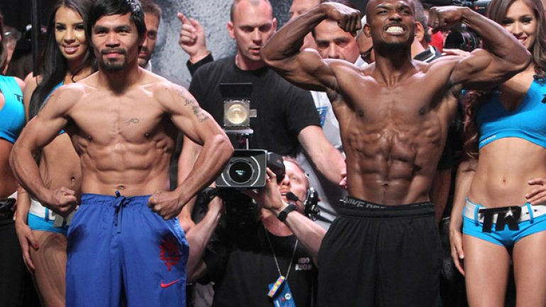 Weigh-in result: Manny Pacquiao 145, Tim Bradley 145.5