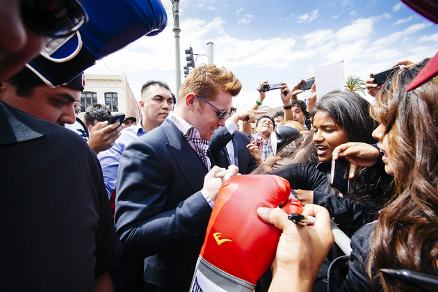 Canelo Alvarez greets fans before the start of the kick-off press conference for his July 12 showdown with Erislandy Lara. Alvarez says he took the fight because his fans demanded it. Photo by Esther Lin-SHOWTIME