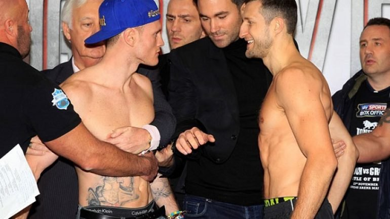 Rematch weigh-in: Carl Froch 167.9, George Groves 166.4
