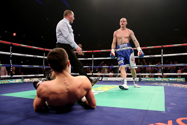 George Groves predicted that he would hurt Carl Froch in the opening round of their first fight and he did, dropping the IBF super middleweight titleholder. Groves says he will finish Froch in their rematch. Photo by Scott Heavey-Getty Images