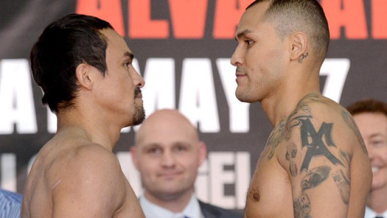Juan Manuel Marquez 141.6, Mike Alvardo 143.2; Tim Bradley weighs in