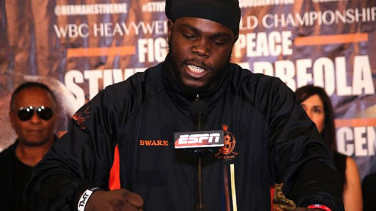 Bermane Stiverne erupts at final presser for Chris Arreola rematch