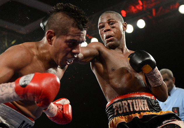 Javier Fortuna lands a right to Juan Antonio Rodriguez during their hard-fought 10 rounder on May 31 in Las Vegas. Fortuna won a decision. Photo by Naoki Fukuda