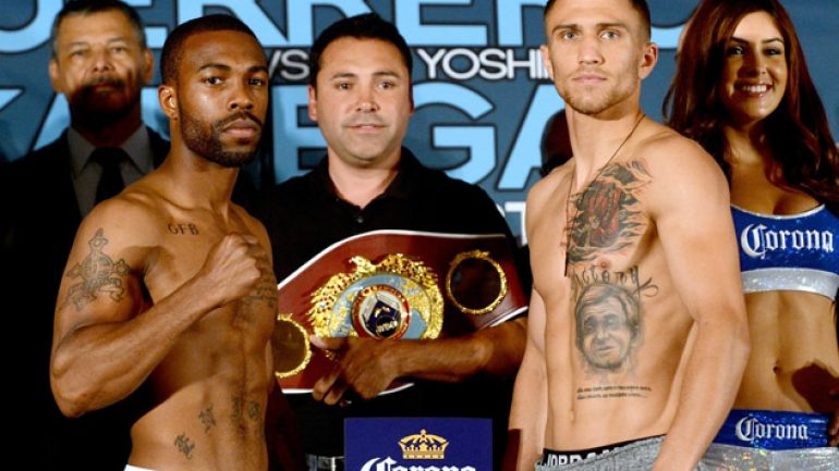 Weigh-in photos: Russell-Lomachenko, Guerrero-Kamegai