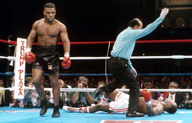 ATLANTIC CITY - JANUARY 22,1988: Mike Tyson walks to his corner after knocking out Larry Holmes in Atlantic City to retain his IBF, WBA and WBC titles. Photo by THE RING Magazine/Getty Images.