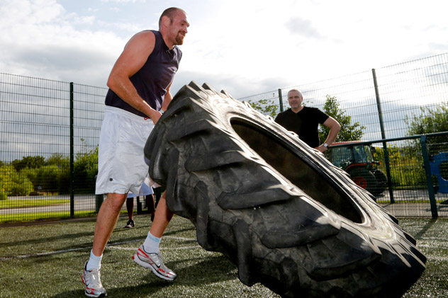 Tyson Fury in June, training for the now-canceled bout against Dereck Chisora. Photo by Paul Thomas/Getty Images.