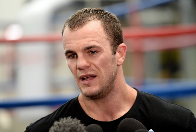 Jarrod Fletcher talks to the media after a sparring session against Daniel Geale on July 7 in Brisbane, Australia. Geale was stopped by Gennady Golovkin later in the month but Fletcher hopes to bring home a major title when he faces Daniel Jacob on Aug. 9. Photo by Bradley Kanaris/Getty Images