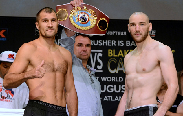 Blacke Caparello (R) alongside Sergey Kovalev at the weigh-in for their matchup on Aug. 2. Photo by Naoki Fukuda.