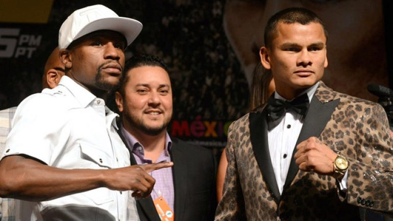 Watch the live stream of today's Mayweather-Maidana weigh-in
