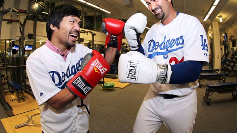 Photo gallery: Manny Pacquiao at Dodgers stadium