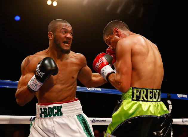 Julian Williams cracks Freddy Hernandez with a left hook en route to a third-round knockout at House of Blues Boston on March 17 in Boston, Massachusetts. Photo by Jared Wickerham/Getty Images