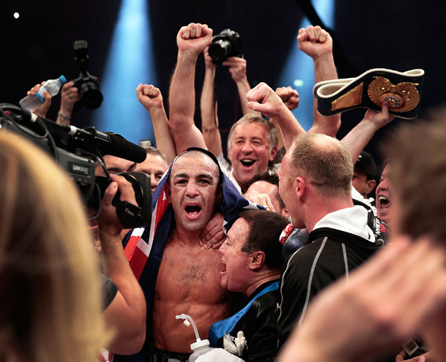 Sam Soliman celebrates after a winning a unanimous decision over Felix Sturm after their IBF middleweight title fight at Kings Palace Arena on May 31, 2014 in Krefeld, Germany. Photo by Adam Pretty/Bongarts/Getty Images