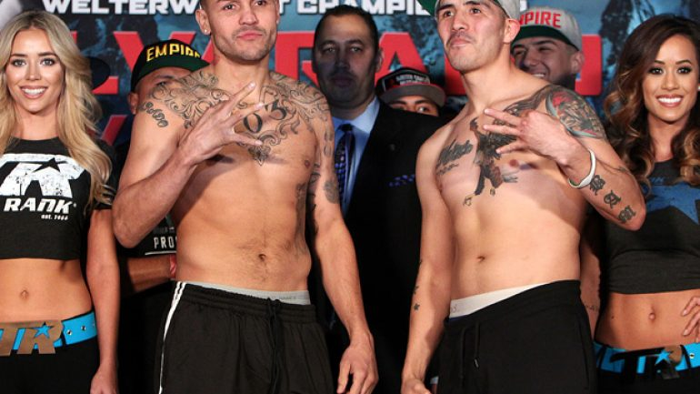 Weigh-in result: Mike Alvarado 146.5 pounds, Brandon Rios 146.75