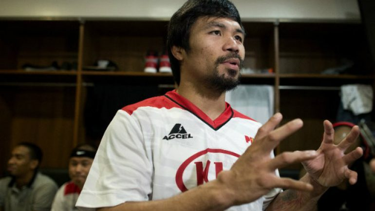 Skirting risk, Pacquiao wins at hoops on Wednesday