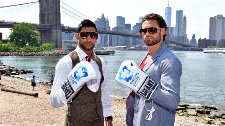 Amir Khan, Chris Algieri make weight for Friday bout