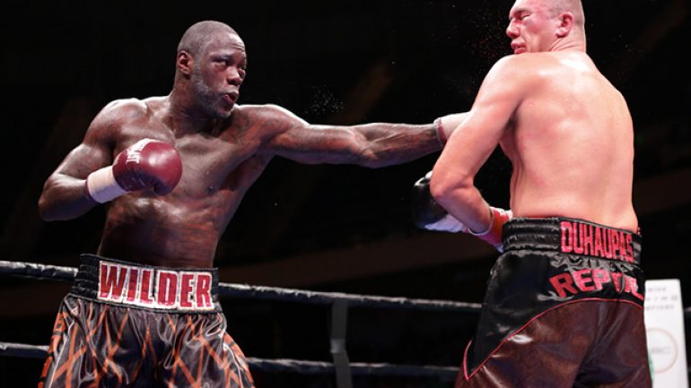 Deontay Wilder stops game Johann Duhaupas in 11th round