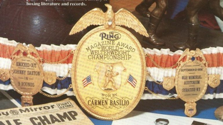 Basilio and Zale RING Magazine belts stolen from IBHOF