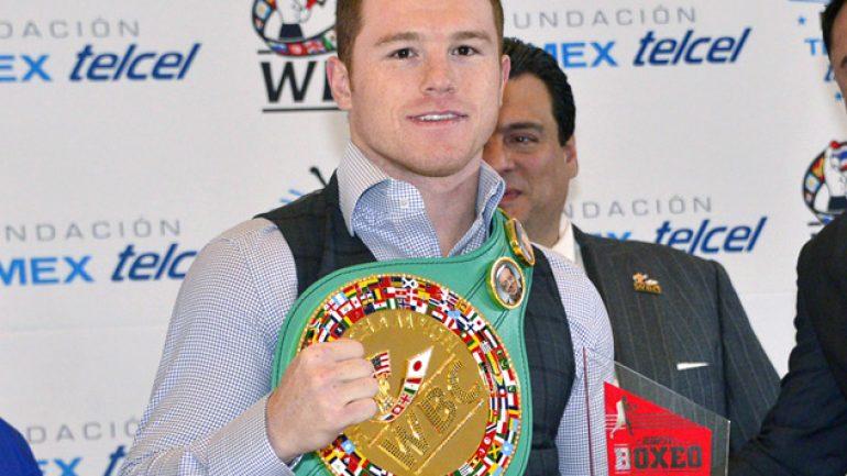 Canelo Alvarez presented with WBC belt in Mexico City