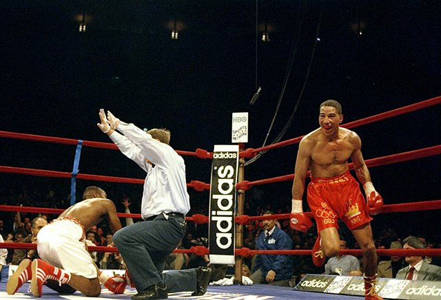 The pinnacle of Kennedy McKinney's pro career was his KO of Junior Jones in 1997. It was also his last significant victory. Photo by Al Bello / Getty Images