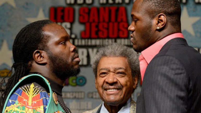 Bermane Stiverne weighs in at 239 pounds, Deontay Wilder 219
