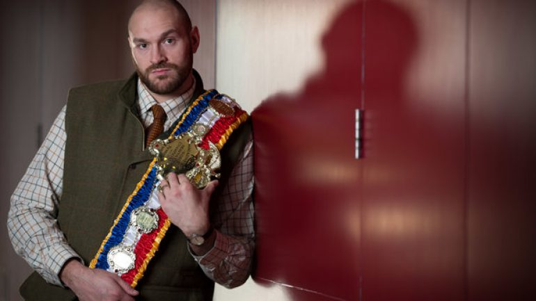 Tyson Fury presented with THE RING heavyweight championship belt