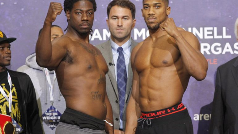 Weigh-in result:  Charles Martin 245, Anthony Joshua 244