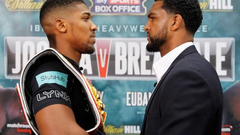 Weigh-in result:  Anthony Joshua 243.3, Dominic Breazeale 255