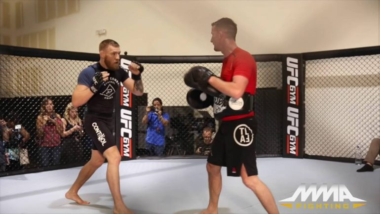 Conor McGregor abs and mitt work prep for Nate Diaz at UFC 202