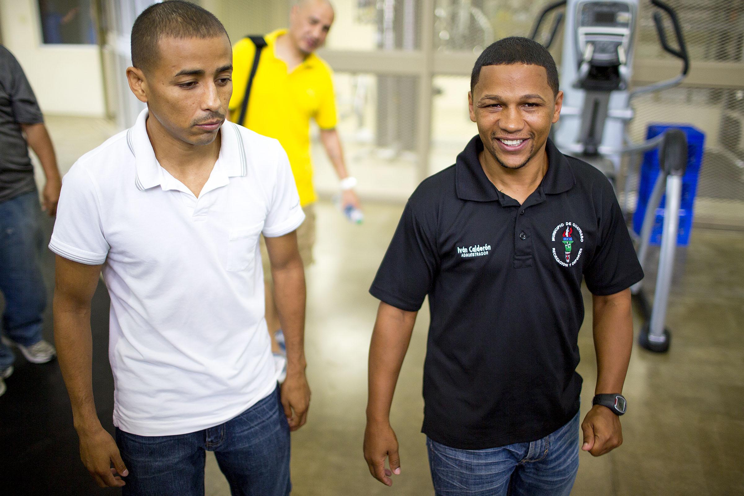 Former RING/WBA/WBO junior flyweight champion Giovani Segura (left) and Ivan Calderon. Photo credit: Joel Colon/PR Best Boxing