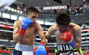 Joshua Franco (L) connects with a hook en route to stopping Brian Bazan in the fourth round on teh Canelo Alvarez-Liam Smith undercard on Sept. 17, 2016. Photo Stacey Verbeek / Golden Boy Promotions