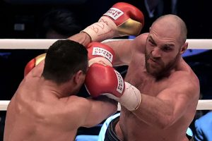 Tyson Fury (right) in action against Wladimir Klitschko. Photo credit: Sascha Steinbach/Bongarts