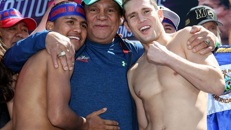 Roman Gonzalez-Carlos Cuadras weigh-in by Chris Farina/K2