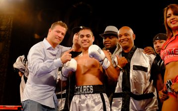 Junior welterweight prospect David Mijares (pictured with his team) scored a first-round stoppage against Jason Gavino to improve to 4-0 on Oct. 7, 2016, at Belasco Theatre in Los Angeles. Photo / Golden Boy Promotions