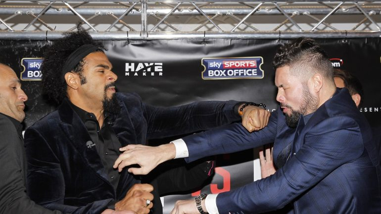 David Haye-Tony Bellew press conference erupts