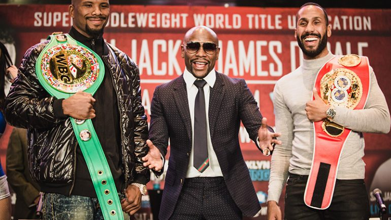 Jostling at DeGale-Jack weigh-in is done by Mayweather