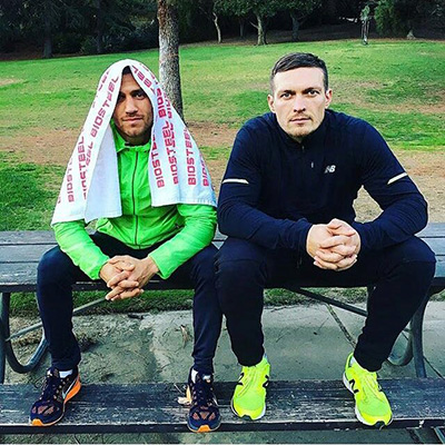 Oleksandr Usyk (R) with countryman, teammate and friend Vasyl Lomachenko. Photo / @Oleksandrusyk
