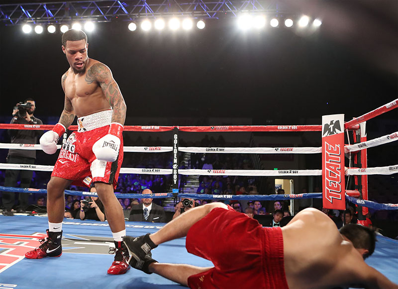 Junior lightweight Lamont Roach (standing) dropped Alejandro Valdez en route to a first-round stoppage in Indio, California. Photo credit: Tom Hogan/HoganPhotos/Golden Boy Promotions