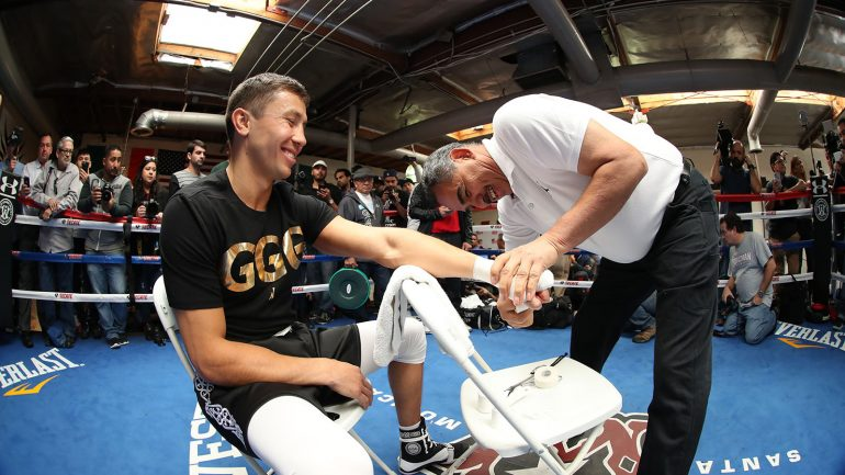 Cheerful Golovkin greets boxing press at Jacobs media workout