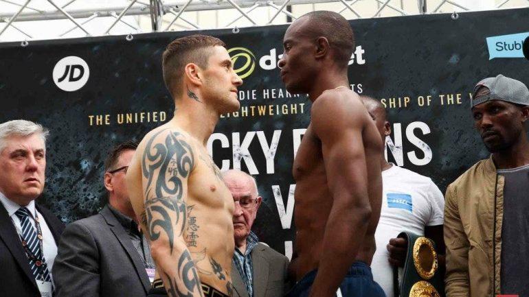 Weigh-in alert: Ricky Burns 139.4, Julius Indongo 139.1