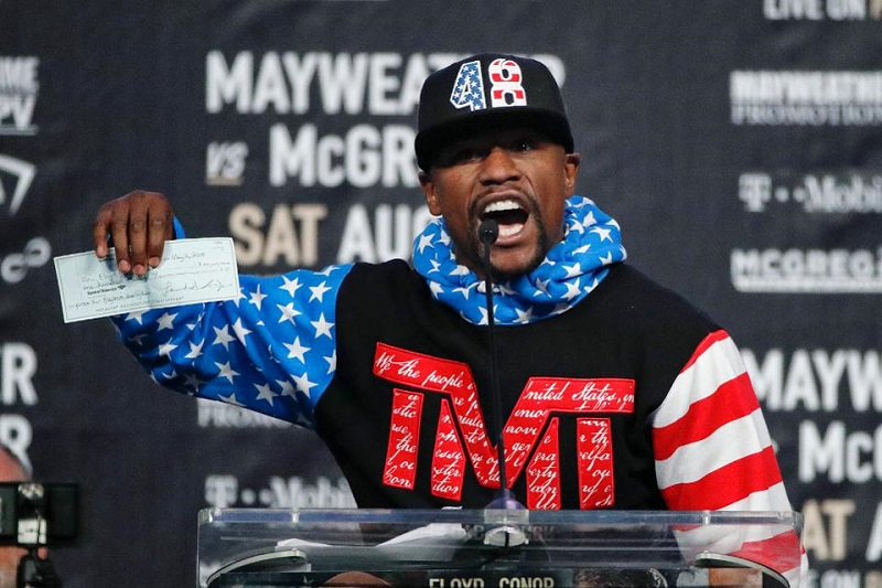 Floyd mayweather starts a hard workdedication chant to kick off floyd mayweather starts a hard workdedication chant to kick off press tour the ring thecheapjerseys Gallery